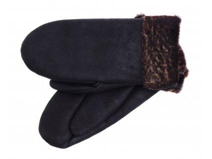 Dámské kožešinové palčáky PA95 tmavě hnědé + melírovaný vlas kožešiny
