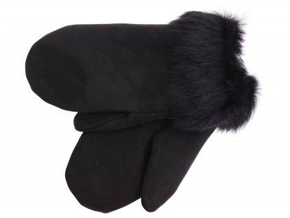 Dámské kožešinové palčáky PA97 černá toskánská jehnětina s rovným vlasem - velur