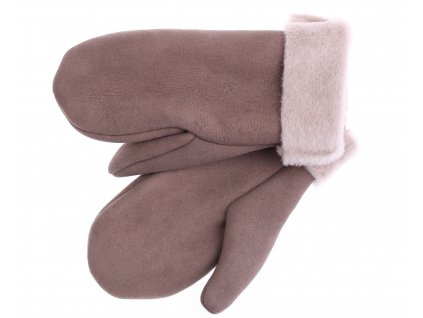 Dámské kožešinové palčáky PA98 světle hnědé + béžový vlas kožešiny