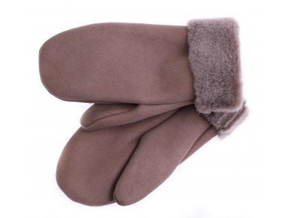 Dámské kožešinové palčáky PA100  hnědé + melírovaný vlas kožešiny