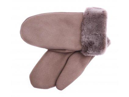 Dámské kožešinové palčáky PA101 tmavě béžové + melírovaný vlas kožešiny
