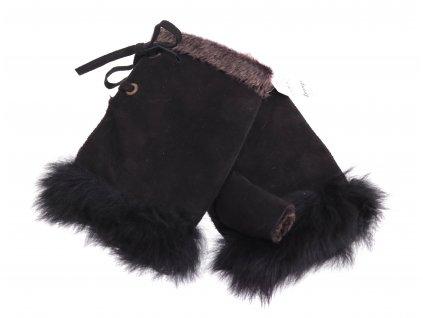 Dámské kožešinové bezprsté rukavice JAPAN PAJ23  hnědé  -  povrch velur
