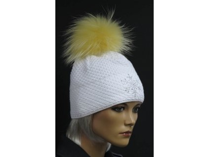 Luxusní pletená čepice s kožešinovou bambulí R Jet 667 bílá