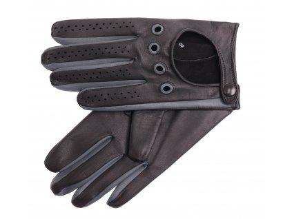 Pánské kožené řidičské rukavice 1448P černá s grafitovými detaily