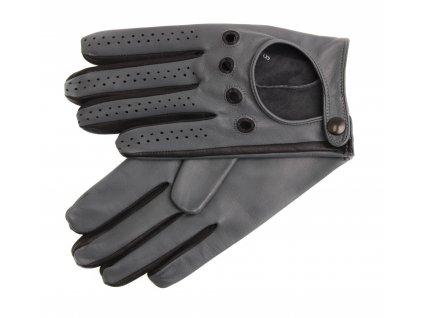 Pánské kožené řidičské rukavice 1448P grafitové s černými detaily