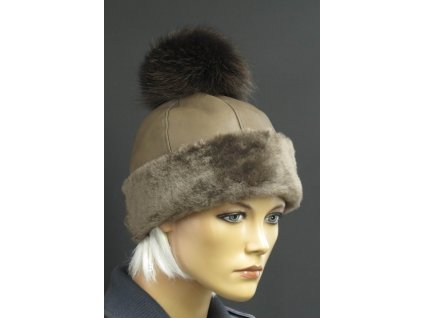 Kožešinová čepice s bambulí z polární lišky 4045 hnědá