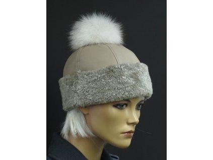 Kožešinová čepice s bambulí z polární lišky 4047 béžová