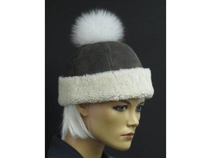 Kožešinová čepice s bambulí z polární lišky 4048 šedá