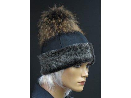 Kožešinová čepice s bambulí z polární lišky 4052 černá