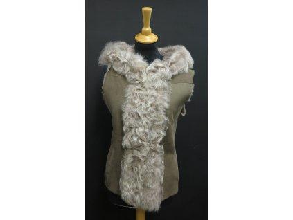 Dámská kožešinová vesta s kapucí ze španělské ovčiny VE25 hnědá