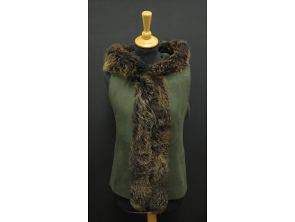 Dámská kožešinová vesta s kapucí ze španělské ovčiny VE26 zelená