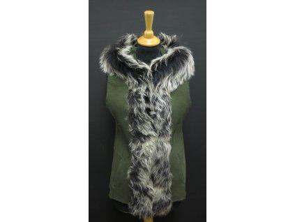 Dámská kožešinová vesta s kapucí ze španělské ovčiny VE27 zelená