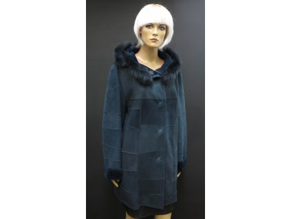 Dámský velurový kožich z ovčiny 6372 tmavě modrý