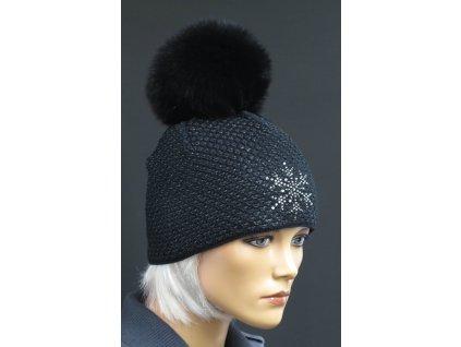 Dámská zimní pletená čepice s kožešinovou bambulí 672 černá s černým lurexem