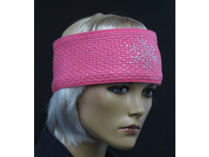 Dámská zimní pletená čelenka R-Jet For You - růžová CL8