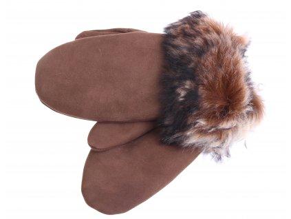 Dámské kožešinové palčáky PA102  hnědé + melírovaný vlas kožešiny
