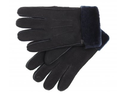Kožešinové rukavice prstové PR92 černý velur + tmavě modrý vlas kožešiny