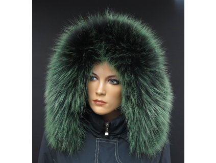 Kožešinový lem na kapuci z finského mývalovce 10203 Green Grass