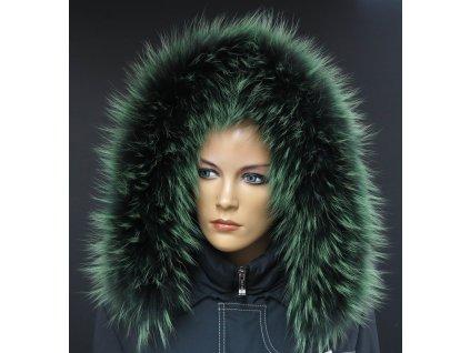 Kožešinový lem na kapuci z finského mývalovce 10204 Green GrassKožešinový lem na kapuci z finského mývalovce 10204 Green Grass
