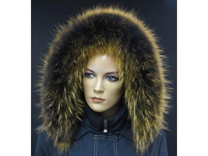 Kožešinový lem na kapuci z finského mývalovce 10222 Yelow Orange 2. JAKOST