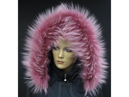 Kožešina na kapuci z finského mývalovce - 201 Old Rose - starorůžová s melírem