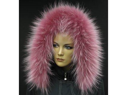 Kožešina na kapuci z finského mývalovce - 202 Old Rose - starorůžová s melírem