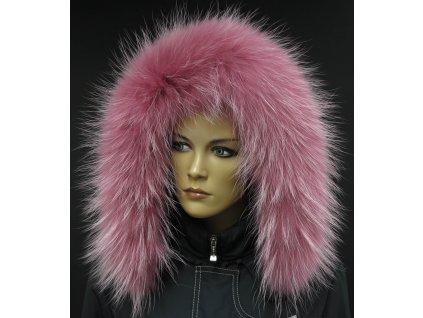 Kožešina na kapuci z finského mývalovce - 204 Old Rose - starorůžová s melírem