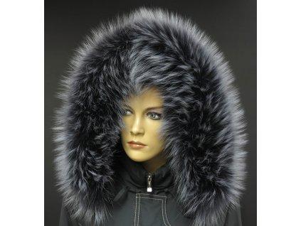Kožešina na kapuci z finského mývalovce - 9020 tmavě šedá + melír