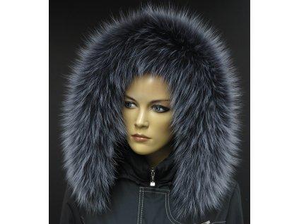 Kožešina na kapuci z finského mývalovce - 9022 tmavě šedá + melír
