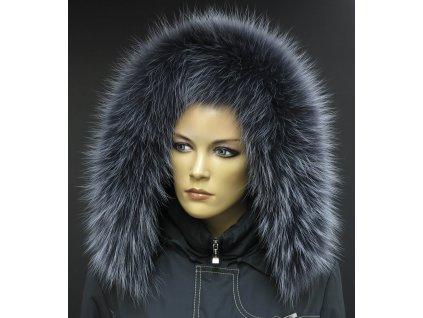 Kožešina na kapuci z finského mývalovce - 9024 tmavě šedá + melír