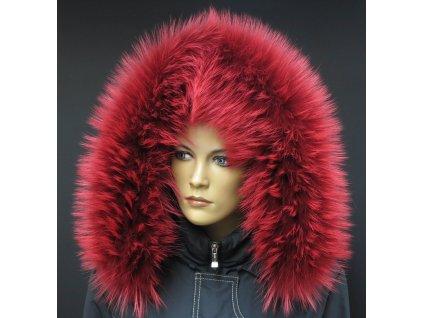 Kožešinový lem na kapuci z finského mývalovce 4091 RED & WHITE