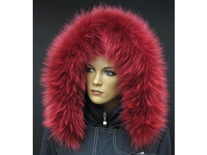Kožešinový lem na kapuci z finského mývalovce 4092 RED & WHITE