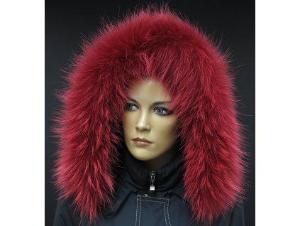 Kožešinový lem na kapuci z finského mývalovce 4094 RED & WHITE