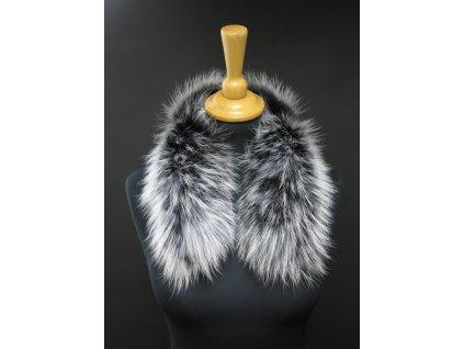 Kožešinový lem na kapuci z finského mývalovce 4096 RED & WHITE 2. jakost 50 cm krátký