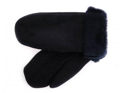 Dámské kožešinové palčáky PA109 tmavě modré velur