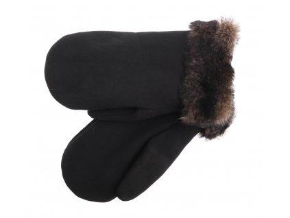 Pánské kožešinové palčáky PAP100 velur černé s melírovanou kožešinou