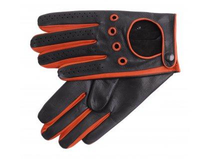 Pánské kožené řidičské rukavice 1448P černá s oranžovými detaily