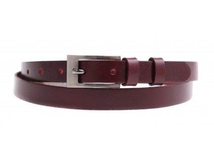 Dámský úzký kožený opasek Penny Belts 2051 vínově červený