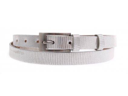 Dámský úzký kožený opasek Penny Belts 2055 stříbrný