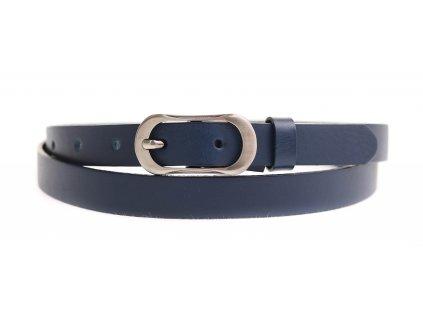 Dámský úzký kožený opasek Penny Belts 2060 tmavě modrý