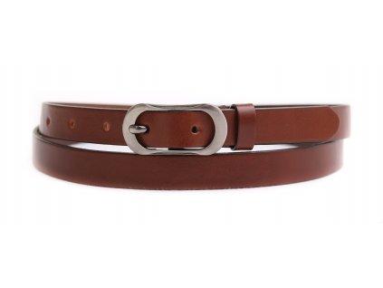 Dámský úzký kožený opasek Penny Belts 2063 hnědý