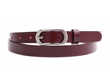 Dámský úzký kožený opasek Penny Belts 2065 vínově červený