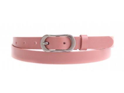 Dámský úzký kožený opasek Penny Belts 2066 růžový