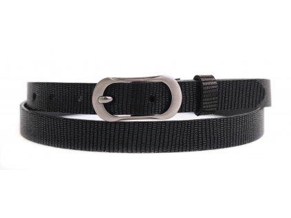 Dámský úzký kožený opasek Penny Belts 2067 černý tištěný