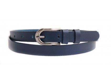 Dámský úzký kožený opasek Penny Belts 2068 tmavě modrý