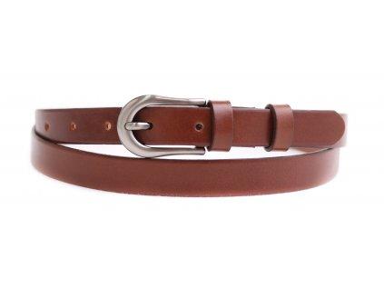 Dámský úzký kožený opasek Penny Belts 2070 hnědý