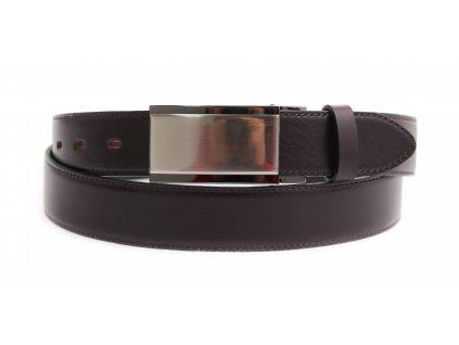 Pánský kožený opasek Penny Belts 3581 tmavě hnědý společenský s plnou sponou