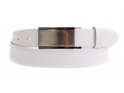 Pánský kožený opasek Penny Belts 3582 bílý společenský s plnou sponou