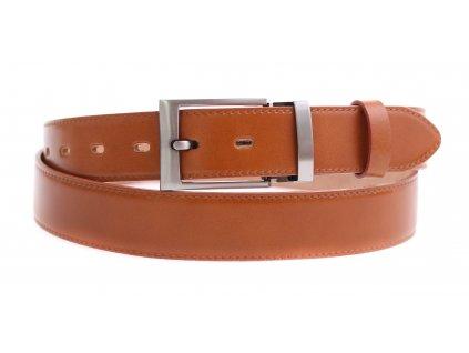 Pánský kožený opasek do obleku Penny Belts 3583 koňakově hnědý