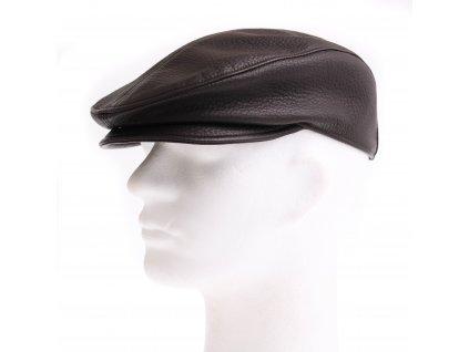 Pánská kožená čepice s kšiltem - bekovka BE17 tmavě hnědá hladká teletina